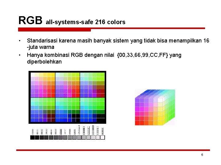 RGB all-systems-safe 216 colors • • Standarisasi karena masih banyak sistem yang tidak bisa