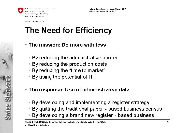 Federal Department of Home Affairs FDHA Federal Statistical Office FSO The Need for Efficiency