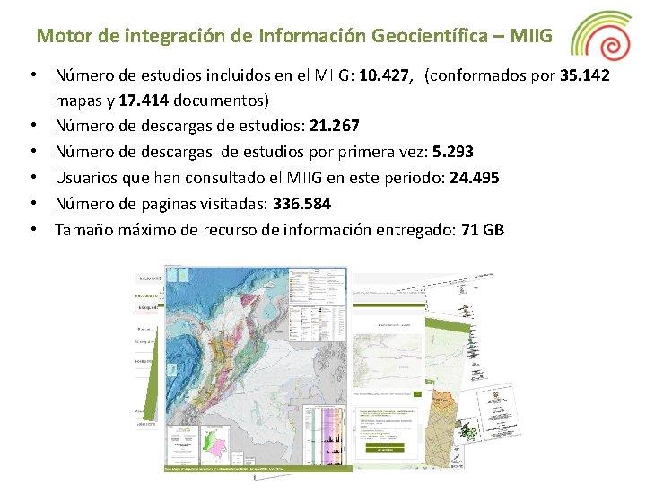 Motor de integración de Información Geocientífica – MIIG • Número de estudios incluidos en