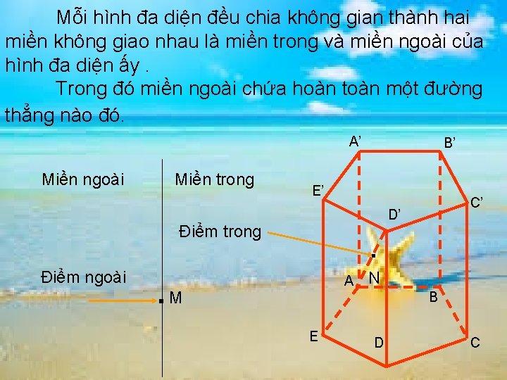 Mỗi hình đa diện đều chia không gian thành hai miền không giao nhau