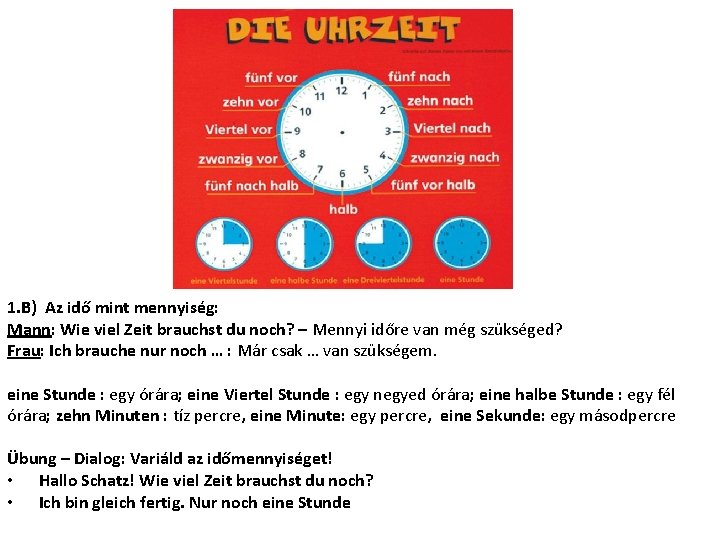 1. B) Az idő mint mennyiség: Mann: Wie viel Zeit brauchst du noch? –