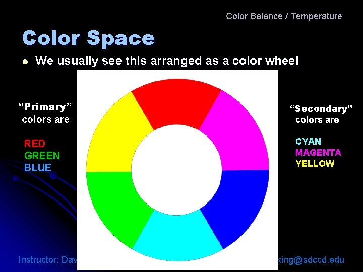 Color Balance / Temperature Color Space l We usually see this arranged as a