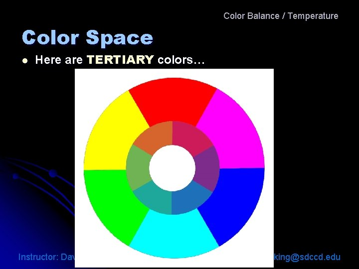 Color Balance / Temperature Color Space l Here are TERTIARY colors… Instructor: David King