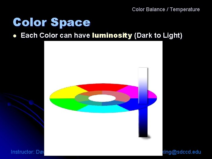 Color Balance / Temperature Color Space l Each Color can have luminosity (Dark to