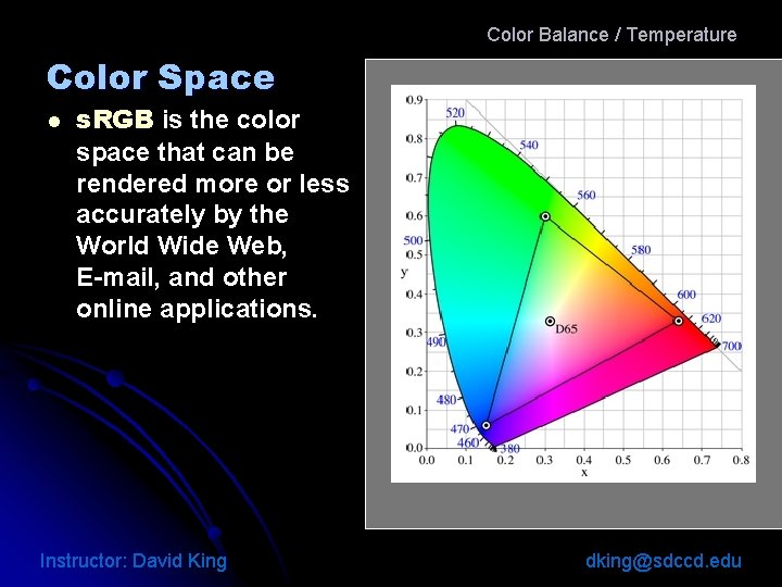 Color Balance / Temperature Color Space l s. RGB is the color space that
