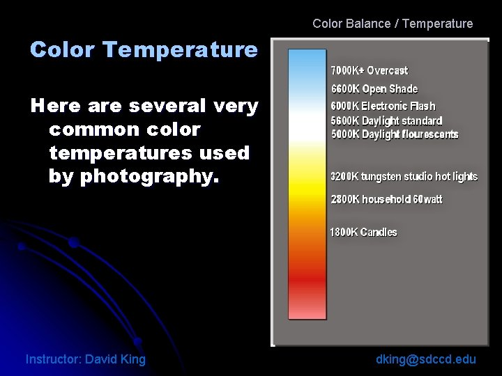 Color Balance / Temperature Color Temperature Here are several very common color temperatures used