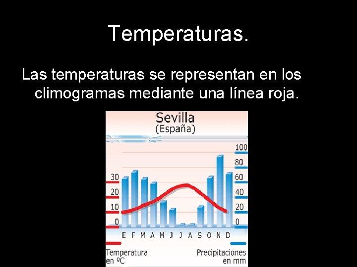 Temperaturas. Las temperaturas se representan en los climogramas mediante una línea roja.