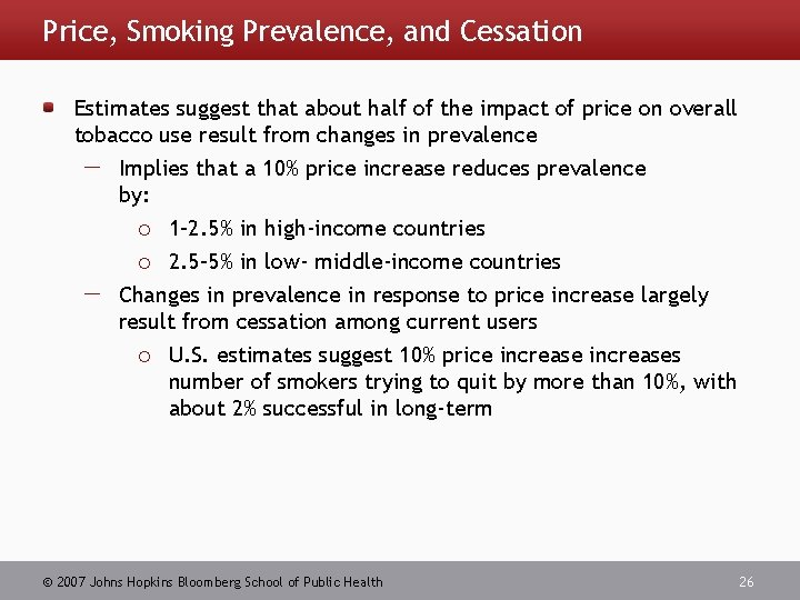 Price, Smoking Prevalence, and Cessation Estimates suggest that about half of the impact of