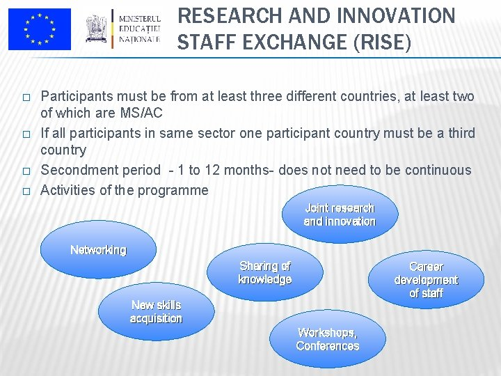 RESEARCH AND INNOVATION STAFF EXCHANGE (RISE) � � Participants must be from at least