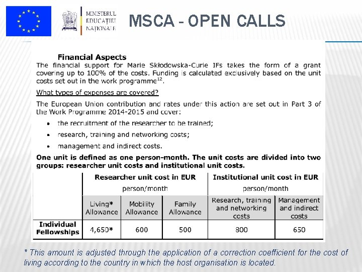 MSCA - OPEN CALLS * This amount is adjusted through the application of a