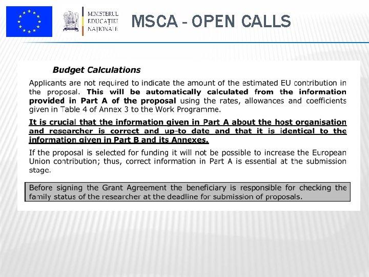 MSCA - OPEN CALLS