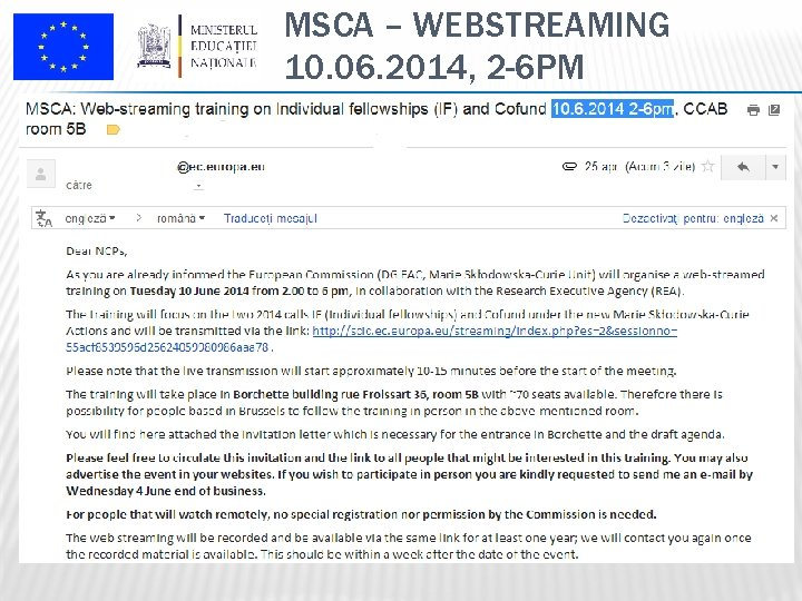 MSCA – WEBSTREAMING 10. 06. 2014, 2 -6 PM