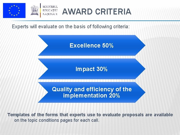 AWARD CRITERIA Experts will evaluate on the basis of following criteria: Excellence 50% Impact
