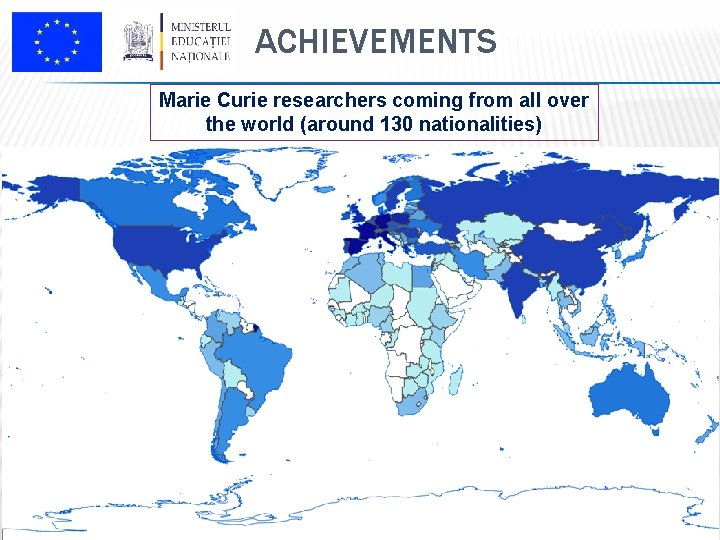 ACHIEVEMENTS Marie Curie researchers coming from all over the world (around 130 nationalities)