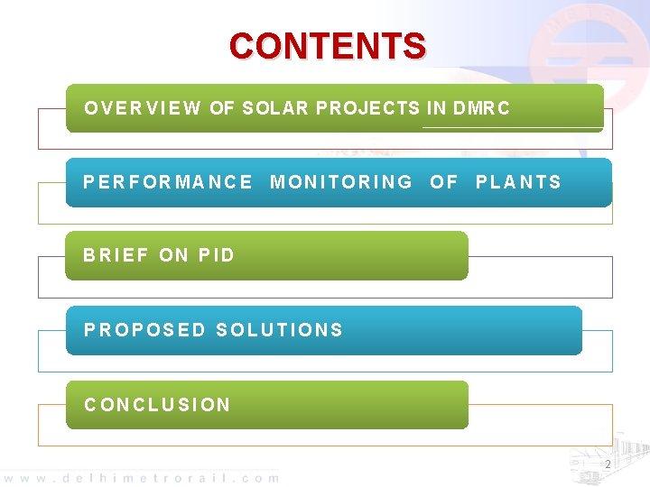 CONTENTS O V E R V I E W OF SOLAR PROJECTS IN DMRC