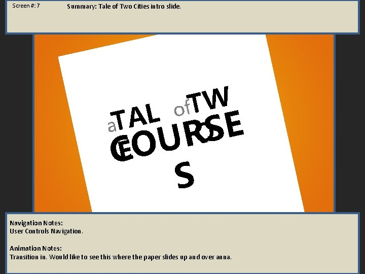 Screen #: 7 Summary: Tale of Two Cities intro slide. of. TW L A