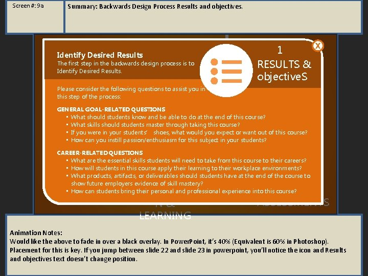 Screen #: 9 a Summary: Backwards Design Process Results and objectives. Identify Desired Results