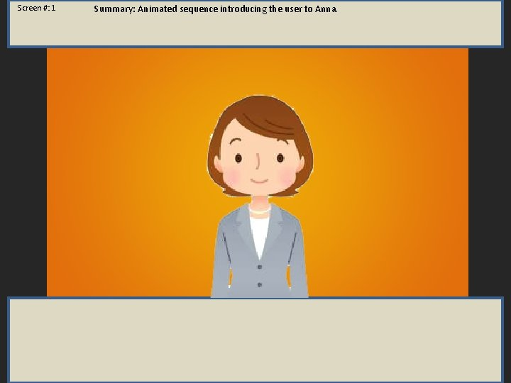 Screen #: 1 Summary: Animated sequence introducing the user to Anna.
