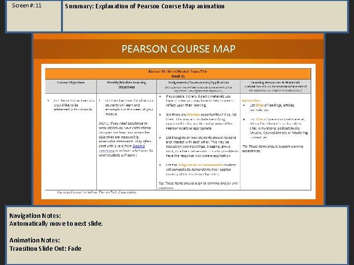Screen #: 11 Summary: Explanation of Pearson Course Map animation PEARSON COURSE MAP Navigation