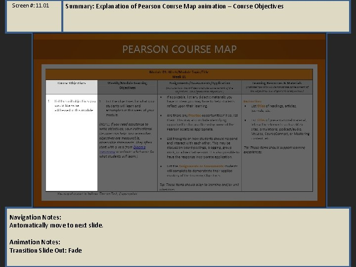 Screen #: 11. 01 Summary: Explanation of Pearson Course Map animation – Course Objectives