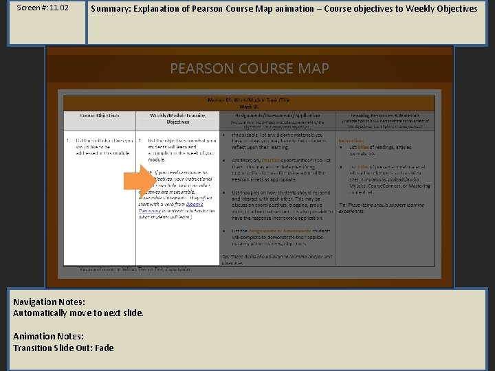 Screen #: 11. 02 Summary: Explanation of Pearson Course Map animation – Course objectives