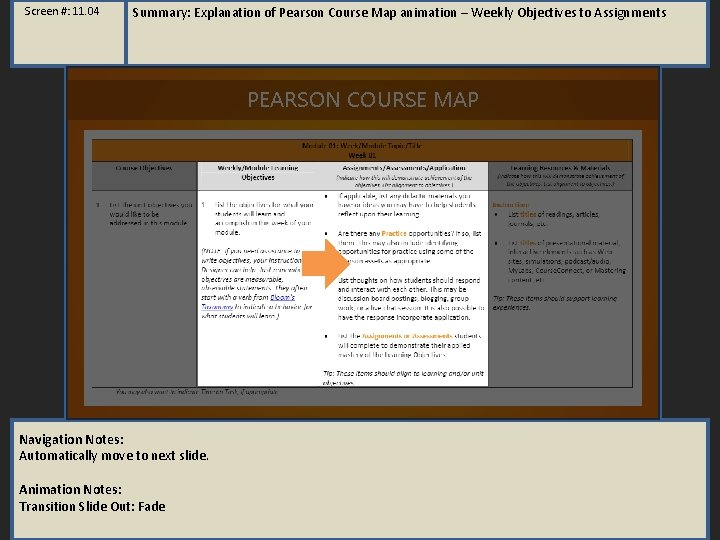 Screen #: 11. 04 Summary: Explanation of Pearson Course Map animation – Weekly Objectives