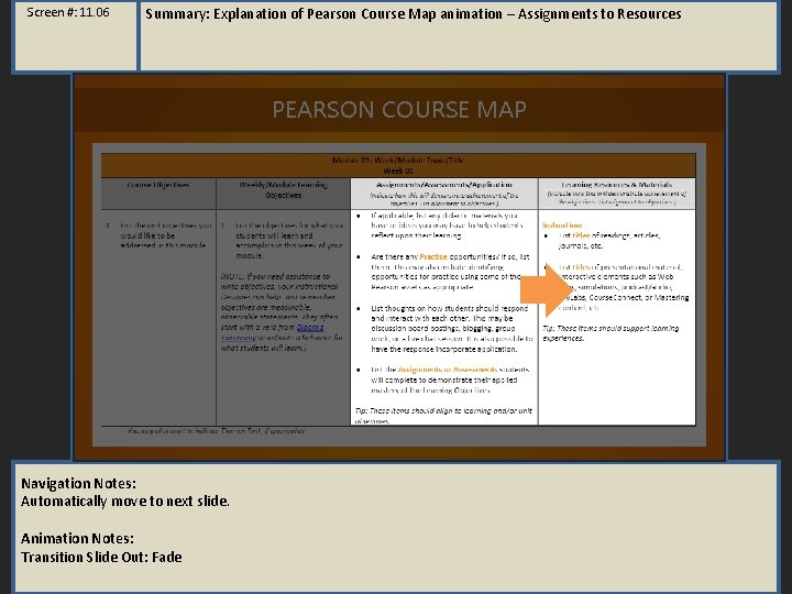Screen #: 11. 06 Summary: Explanation of Pearson Course Map animation – Assignments to