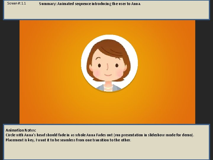 Screen #: 1. 1 Summary: Animated sequence introducing the user to Anna. Animation Notes: