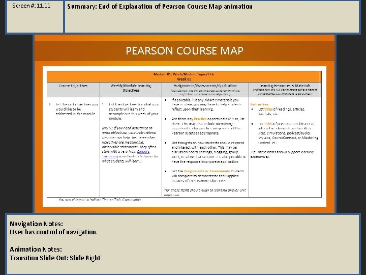 Screen #: 11. 11 Summary: End of Explanation of Pearson Course Map animation PEARSON