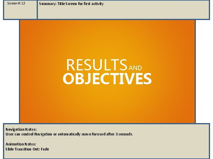 Screen #: 12 Summary: Title Screen for first activity RESULTS OBJECTIVES AND Navigation Notes: