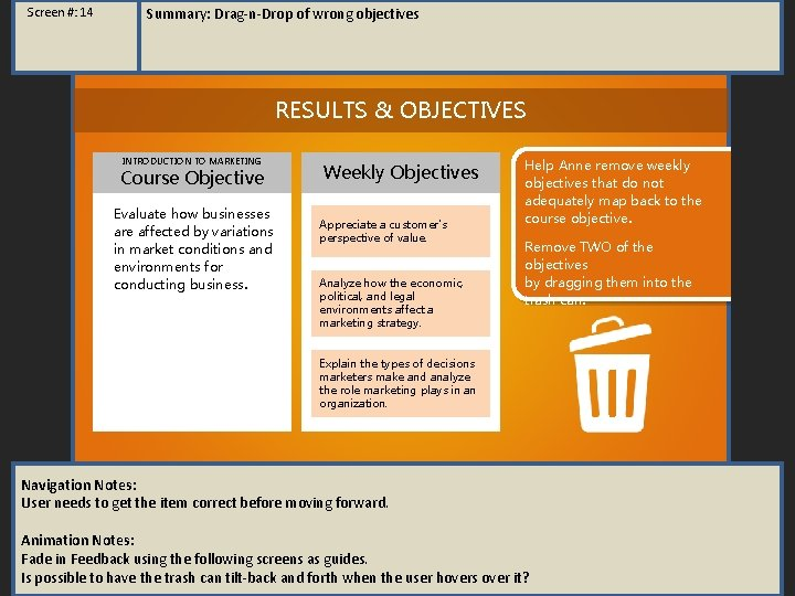 Screen #: 14 Summary: Drag-n-Drop of wrong objectives RESULTS & OBJECTIVES INTRODUCTION TO MARKETING