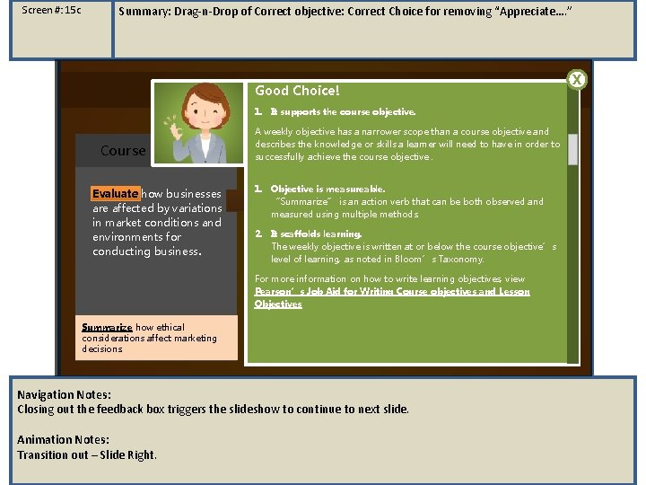"""Screen #: 15 c Summary: Drag-n-Drop of Correct objective: Correct Choice for removing """"Appreciate…."""