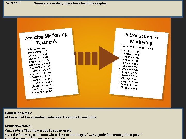 Screen #: 3 Summary: Creating topics from textbook chapters keting r a M g