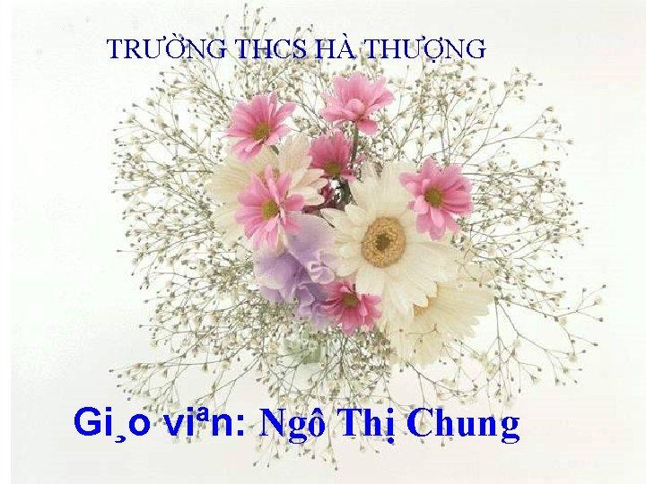 TRƯỜNG THCS HÀ THƯỢNG Gi¸o viªn: Ngô Thị Chung