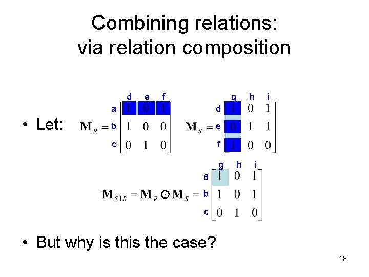 Combining relations: via relation composition d • Let: e f g a d b