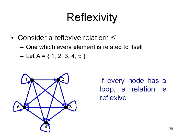 Reflexivity • Consider a reflexive relation: ≤ – One which every element is related