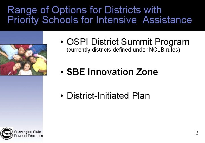 Range of Options for Districts with Priority Schools for Intensive Assistance • OSPI District