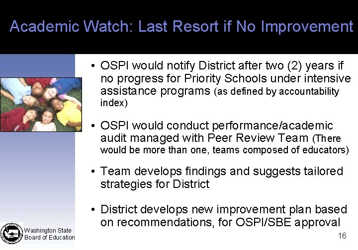 Academic Watch: Last Resort if No Improvement • OSPI would notify District after two