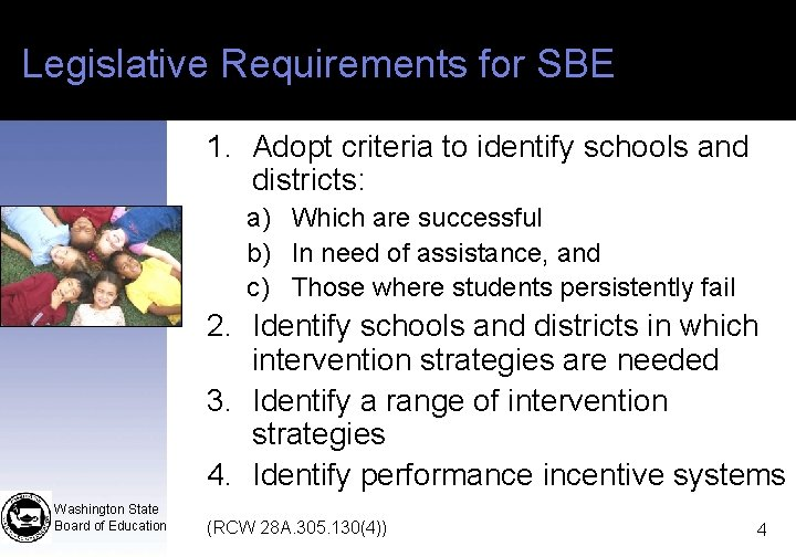 Legislative Requirements for SBE 1. Adopt criteria to identify schools and districts: a) Which