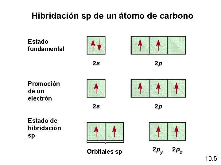 Hibridación sp de un átomo de carbono Estado fundamental Promoción de un electrón Estado