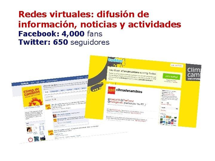 Redes virtuales: difusión de información, noticias y actividades Facebook: 4, 000 fans Twitter: 650