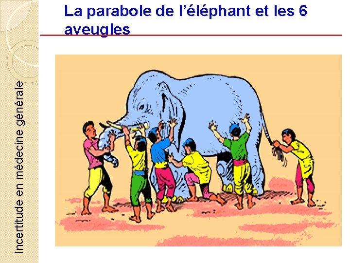 Incertitude en médecine générale La parabole de l'éléphant et les 6 aveugles