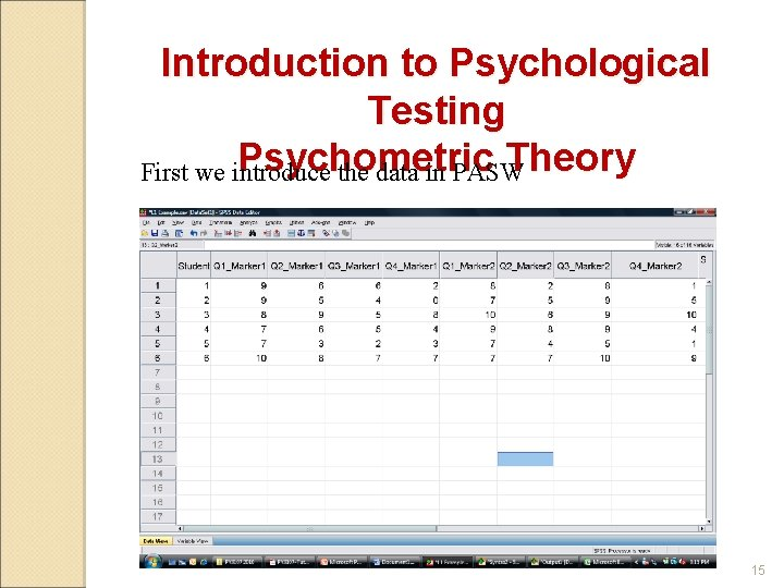 Introduction to Psychological Testing Psychometric Theory First we introduce the data in PASW 15