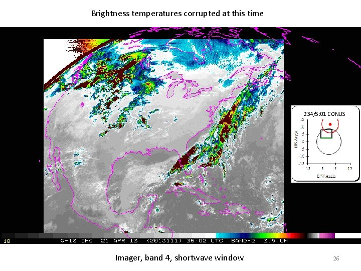 Brightness temperatures corrupted at this time 234/5: 01 CONUS Imager, band 4, shortwave window
