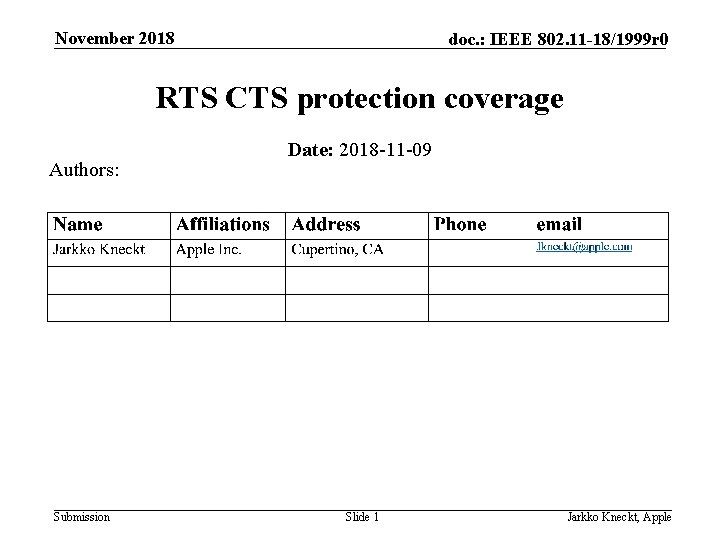 November 2018 doc. : IEEE 802. 11 -18/1999 r 0 RTS CTS protection coverage