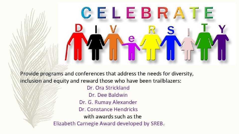 Provide programs and conferences that address the needs for diversity, inclusion and equity and