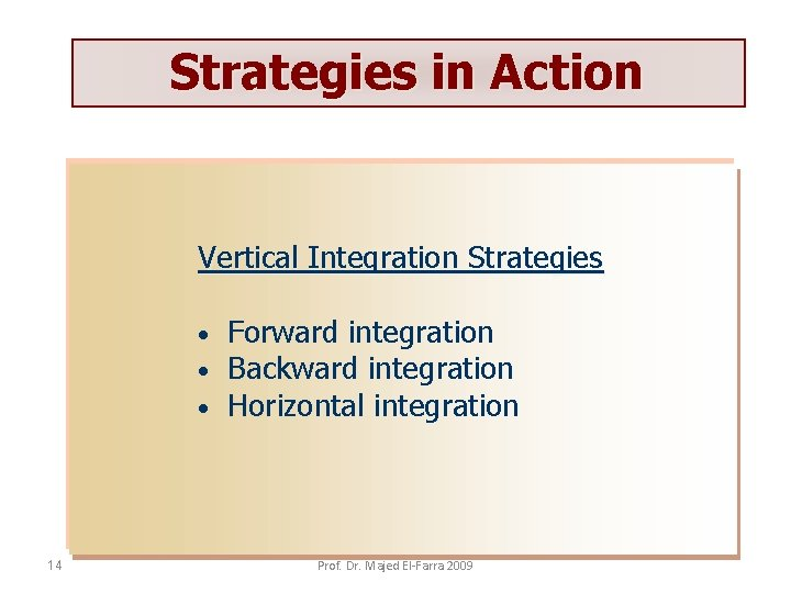 Strategies in Action Vertical Integration Strategies • • • 14 Forward integration Backward integration