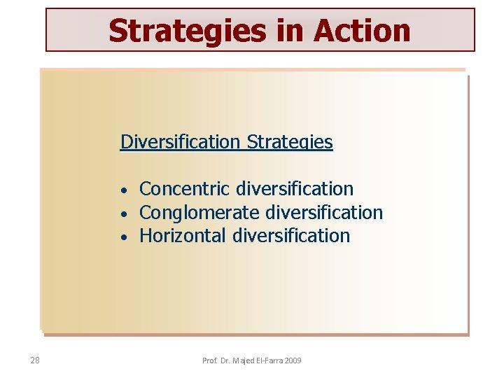 Strategies in Action Diversification Strategies • • • 28 Concentric diversification Conglomerate diversification Horizontal
