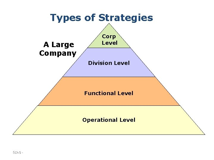 Types of Strategies A Large Company Corp Level Division Level Functional Level Operational Level