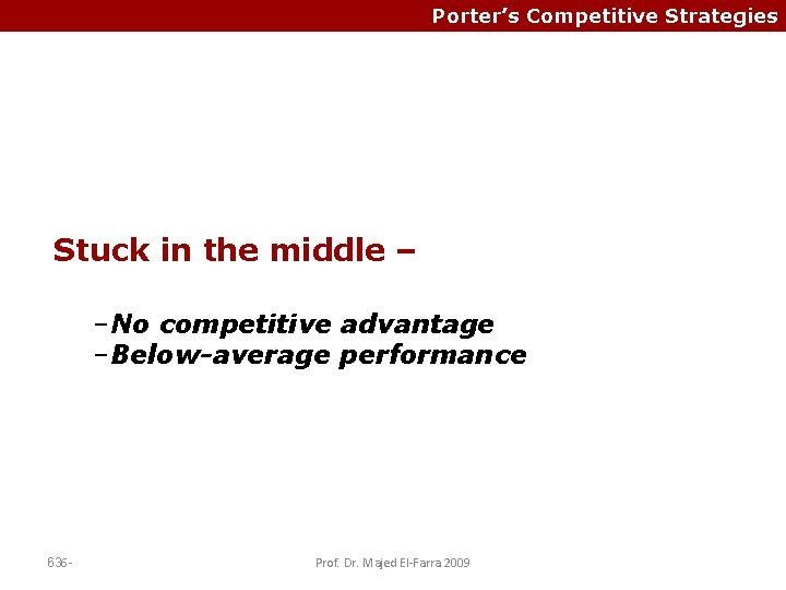 Porter's Competitive Strategies Stuck in the middle – –No competitive advantage –Below-average performance 636